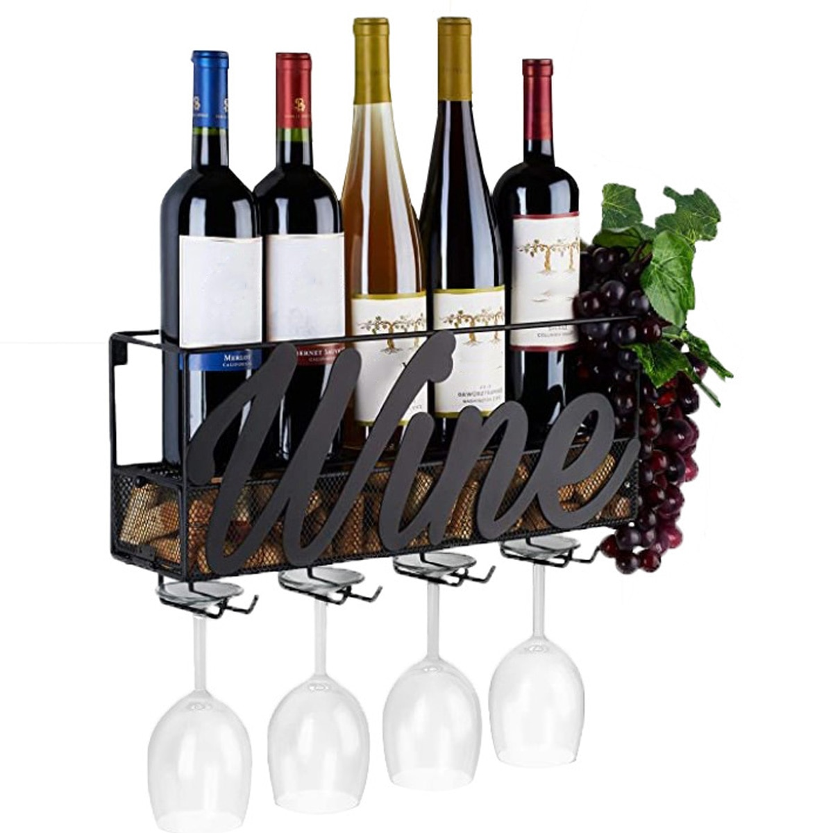 17.71x5.12x8.66 Inch 4 Built-in Wine Glass Holders Metal Wall Mounted Wine Rack Bottle Champagne Shelf With Extra Cork Tray