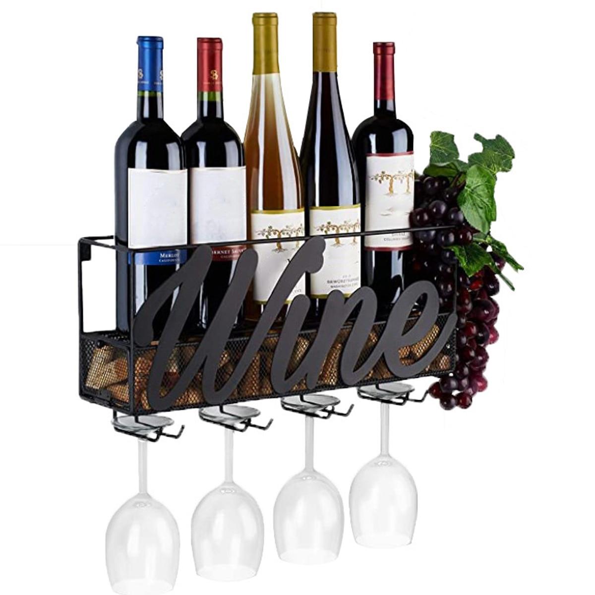 رف زجاجة نبيذ معدني مثبت على الحائط ، 4 حاملات زجاج نبيذ مدمجة 17.71 × 5.12 × 8.66 بوصة ، رف زجاجة شمبانيا مع صينية إضافية من الفلين