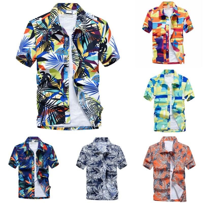 Новая Гавайская Мужская рубашка с цветочным принтом, пляжные, вечерние, повседневные, праздничные, с коротким рукавом, США