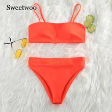 Swewoo 2020 Sexy femmes Bikini ensembles maillots de bain push-up rembourré soutien-gorge maillot de bain maillots de bain rayé Orange vente chaude Bikini