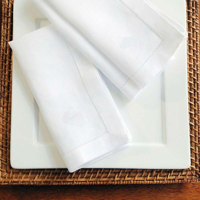 12 قطعة الأبيض همشيتش المناديل كوكتيل منديل ل حفل زفاف مفرش طاولة مناديل مائدة كتانية المناديل القطنية 4 حجم المتاحة