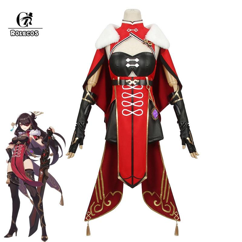 Женский костюм для косплея ROLECOS Genshin Impact Beidou, черный, красный костюм на Хэллоуин с платьем и плащом, полный комплект