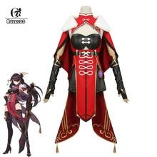 ROLECOS Genshin Impact Beidou Cosplay Costume Beidou Cosplay Costume Women Black Red Costume Halloween Dress Cloak Full Set