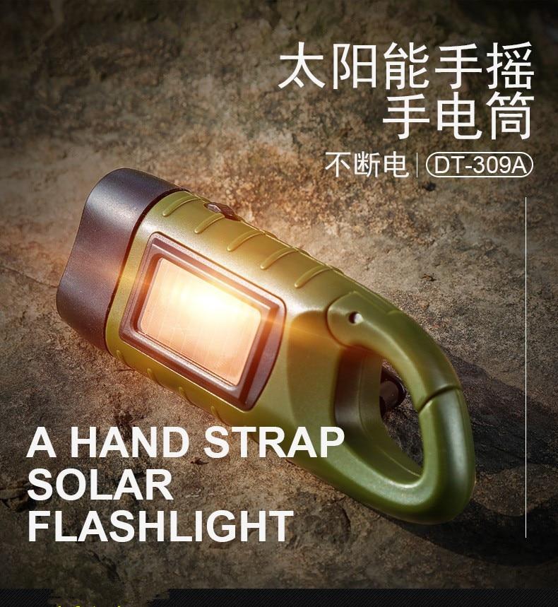 2021 Led Solar Power Emergency Flashlight Hand Crank Wind Up Camping Torch Light Home Emergency Flas