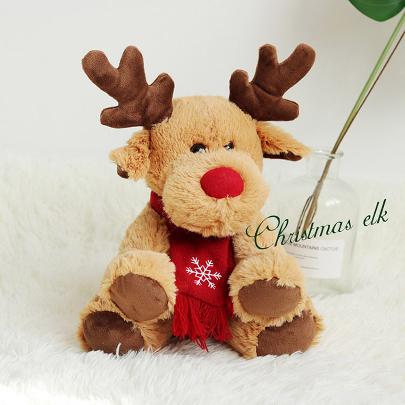 Christmas Elk Plush Doll Stuffed Elk Toy Cute Animal Doll Chrirtmas Decoration good gift for family and friends cute resin bride and bridegroom toy doll