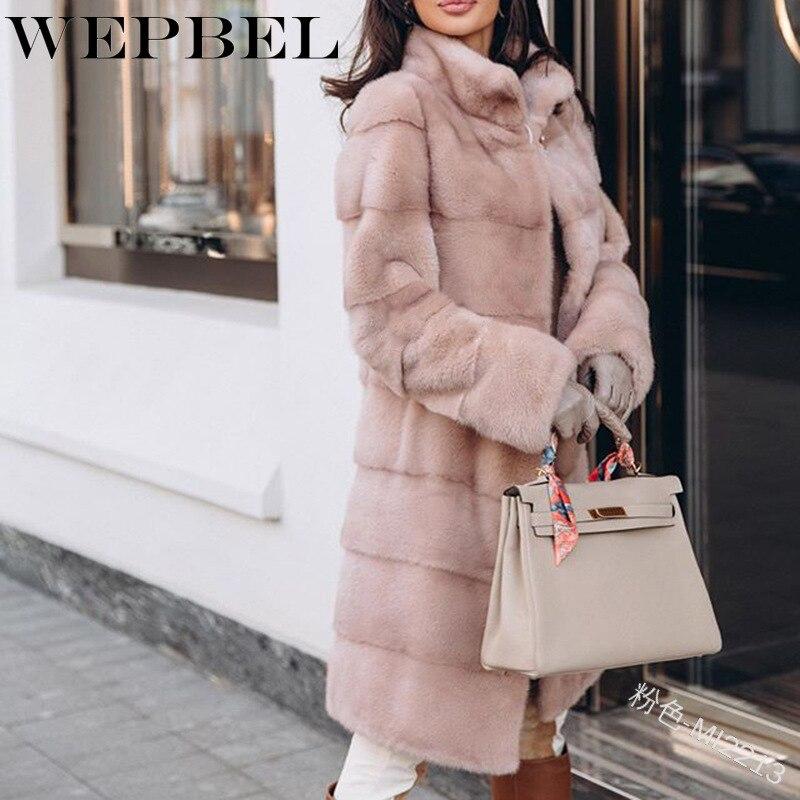 WEPBEL, prendas de vestir cálidas de manga larga para mujer, abrigo informal de invierno para mujer, abrigo largo ajustado de piel sintética con costuras de felpa, chaqueta parca