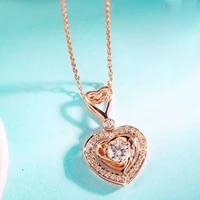 aeaw sell like hot 0 14ct 18k yellow gold top class lady fashion heart diamond pendant necklace for women