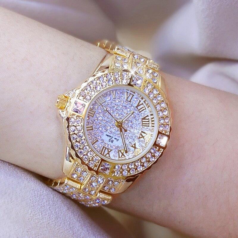Женские часы, золотые часы со стразами, женские наручные часы, роскошный бренд Стразы, женские часы-браслет, женские часы