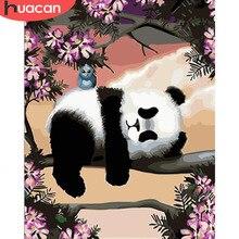 HUACAN صورة بواسطة أرقام مجموعات الباندا رسم قماش اللوحة هاندبينتيد DIY بها بنفسك الفن هدية تزيين المنزل
