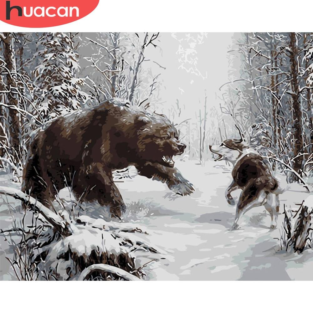 Pintura de HUACAN por números para adultos, Kits de animales, lienzo de dibujo pintado a mano, imagen de oso, arte DIY, decoración del hogar, regalo