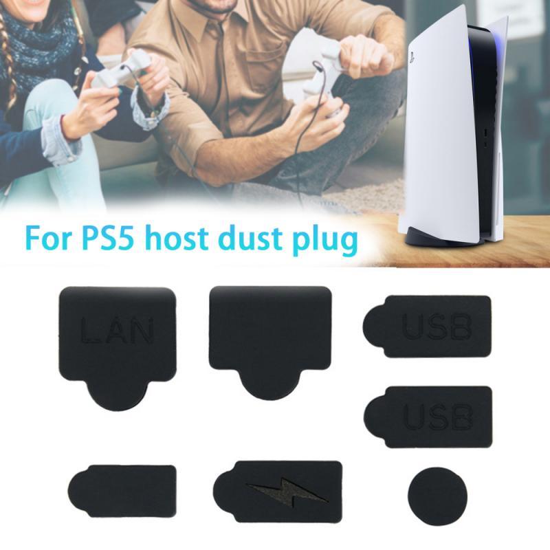 7 шт. пыли Вилки для PS5 игровой консоли Интерфейс силиконовый анти-Пылезащитный чехол Пылезащитная заглушка для разъема для Игровые пристав...
