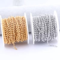 10 metersroll 1 5mm 2 0mm 2 4mm 3 0mm ball chain diy gold plated stainless steel for necklace jewelry making