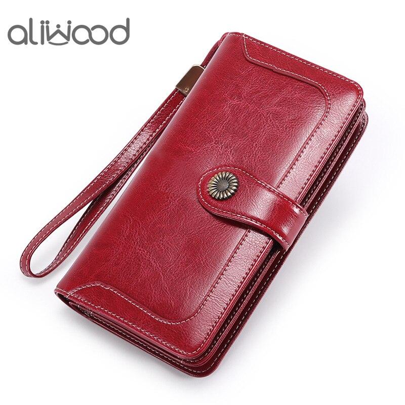 Aliwood alta qualidade mulheres embreagem retro carteira de couro feminino longo carteira com zíper alça bolsa de dinheiro bolsa para iphone 11