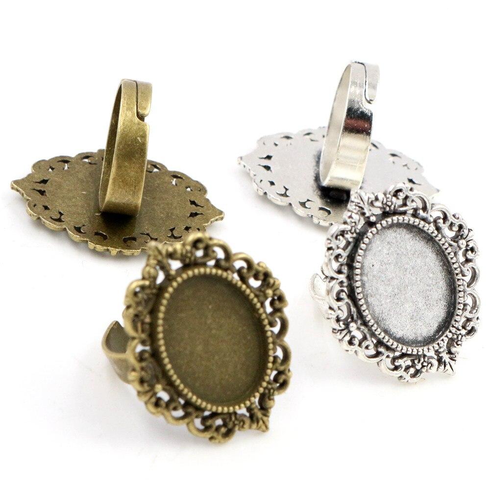 Ajuste 13x18mm 5pcs de bronce antiguo de plata de colores plateado Oval anillo ajustable ajustes en blanco/Base ajuste 13x18mm de vidrio cabujones
