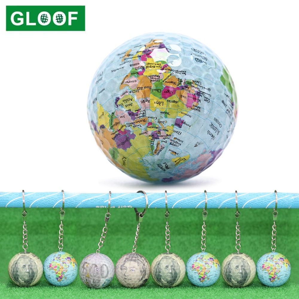 1 шт. шары-карты, Цветные мячи для гольфа, тренировочные мячи для гольфа, забавные подарочные мячи для гольфа с брелоком