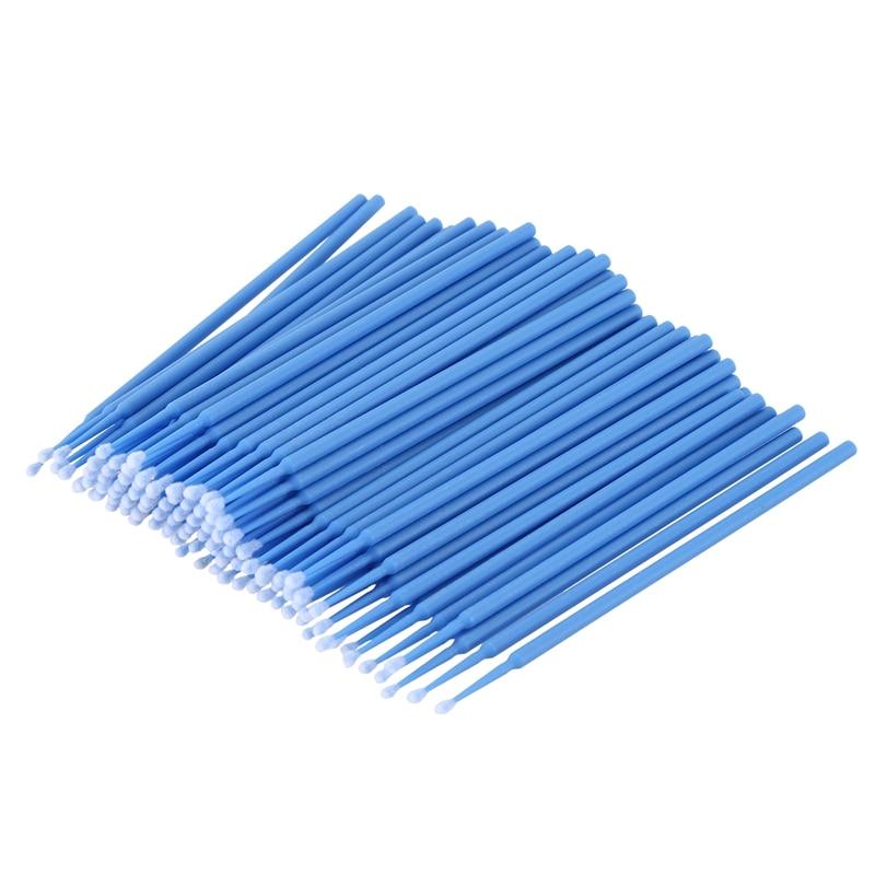 100 uds, microcepillo, materiales desechables, aplicadores de dientes, medio fino (azul oscuro)