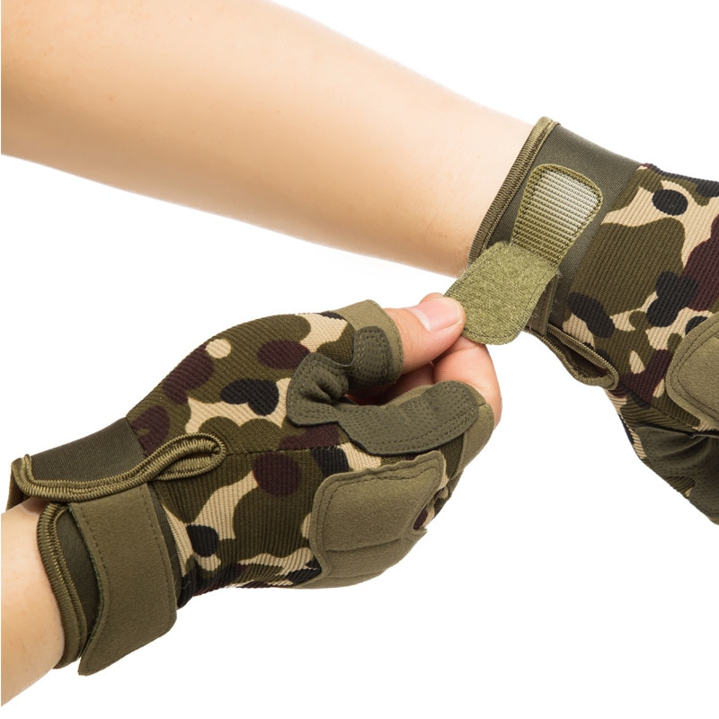Outdoor Half finger Tactical Gloves Camouflage Bicycle Mountain Climbing Fighting Hunting Shooting M