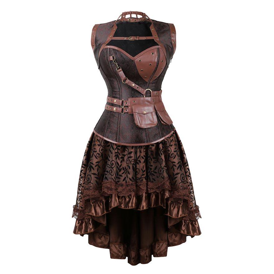 فستان كورسيه من الجلد الصناعي على الطراز القوطي للنساء ، ملابس داخلية مثيرة مع تنورة دانتيل زهري غير متناظرة ، نمط Steampunk