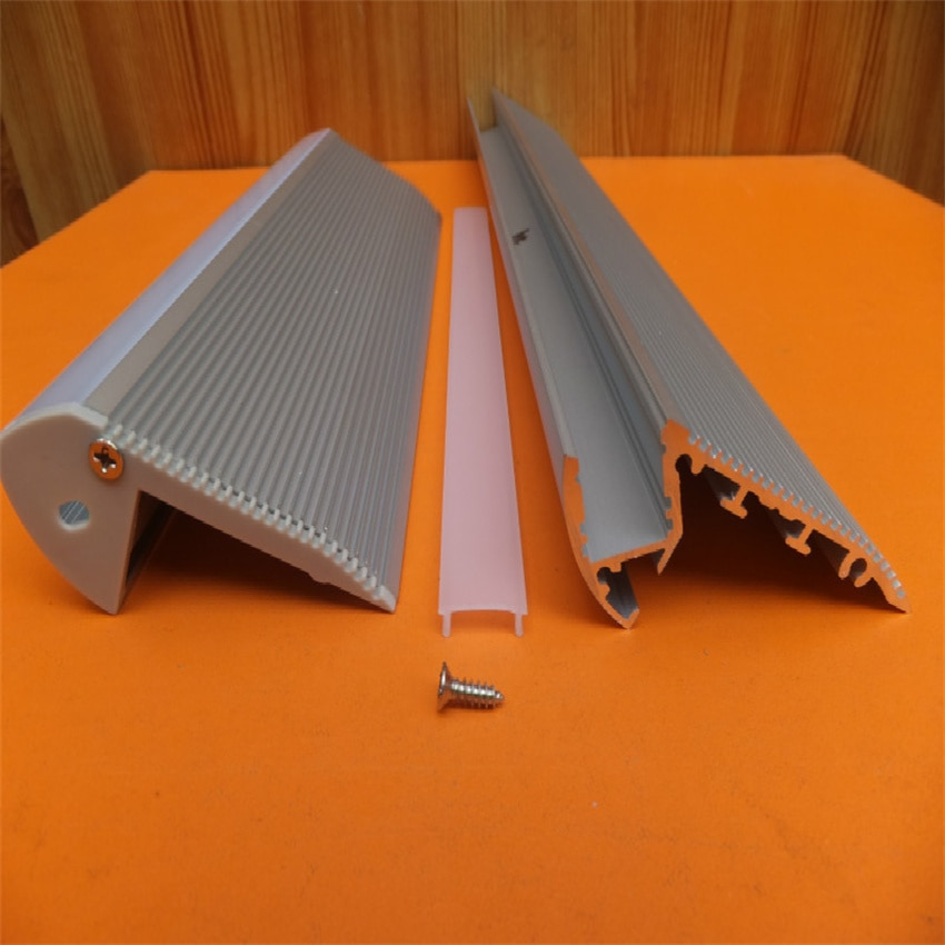 Free Shipping 2m/pcs  Floor Using aluminum stair profile with TRANSPARENT or Milky  cover and end caps for led strips enlarge