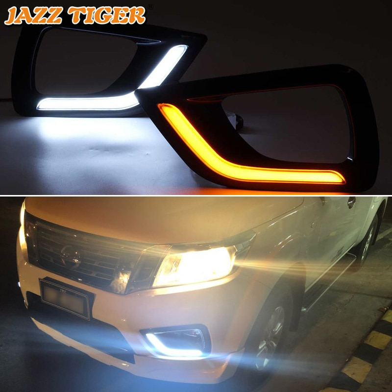SNCN 2PCS LED Daytime Running Light For Nissan NP300 Navara 2015 - 2018 Car Accessories Waterproof 12V DRL Fog Lamp Decoration