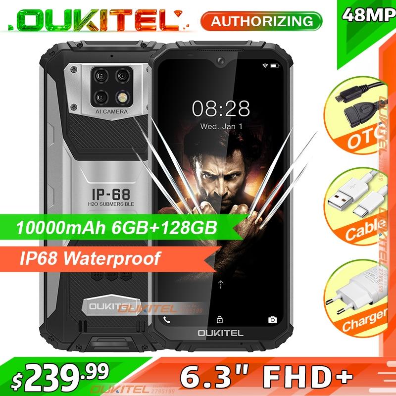 OUKITEL WP6 10000mAh 6.3'' FHD+ IP68 Waterproof Mobile Phone 6GB 128GB Octa Core 48MP Triple Cameras Rugged Smartphone