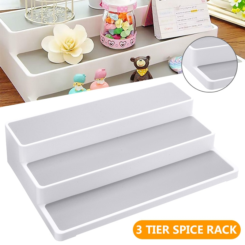3 Layers Plastic Stepped Type Rack Spice Herb Curry Jar Storage Holding Shelves For Kitchen Seasoning Bottle Organiser Tool