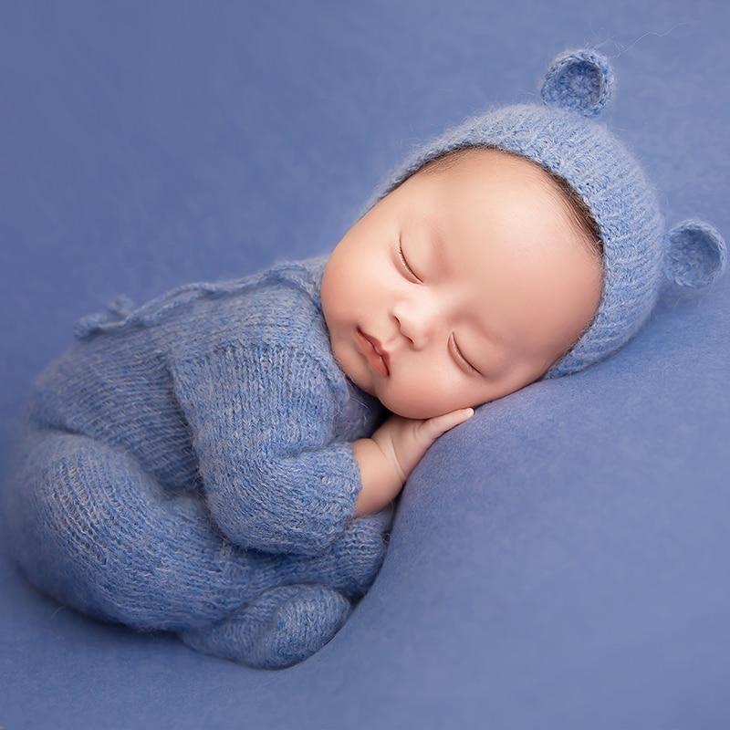 Комплект для фотосъемки новорожденных, комбинезоны, пижама, шапка, детский вязаный наряд с рукавами, Детский комбинезон для фотосъемки, Ром...