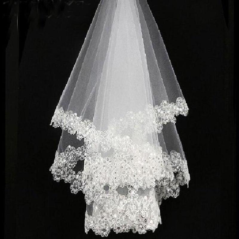 Bela 1,5m čipkasta aplicirana poročna tančica neveste tančice - Poročni dodatki - Fotografija 5