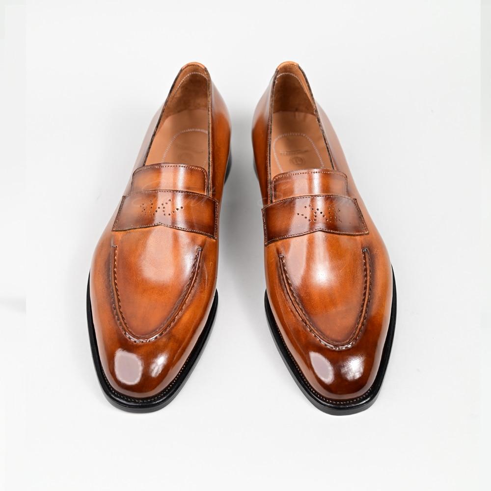 الكلاسيكية Lefu أحذية رجالي جودة عالية جلد العجل اليدوية الفاخرة ماركة مكتب فستان الزفاف الأحذية