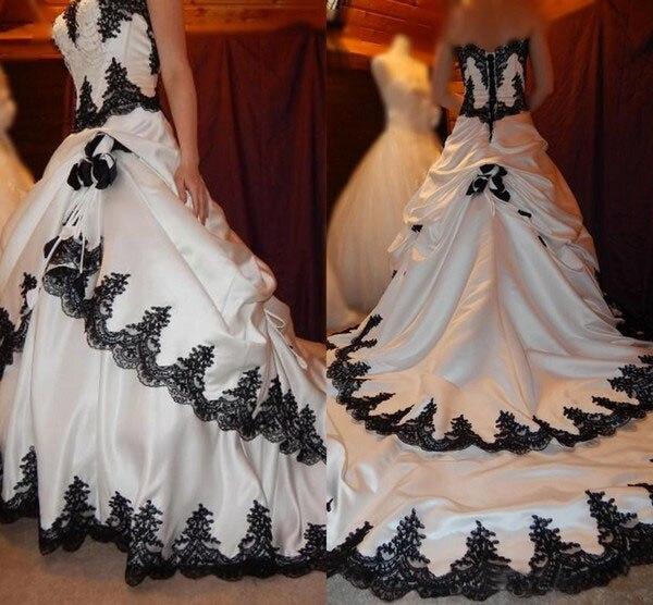 خمر فستان الزفاف التفتا القوطية الأسود والأبيض زي العرائس الظهر الدانتيل يصل مشد حجم كبير رداء دي ماريج مصلى القطار