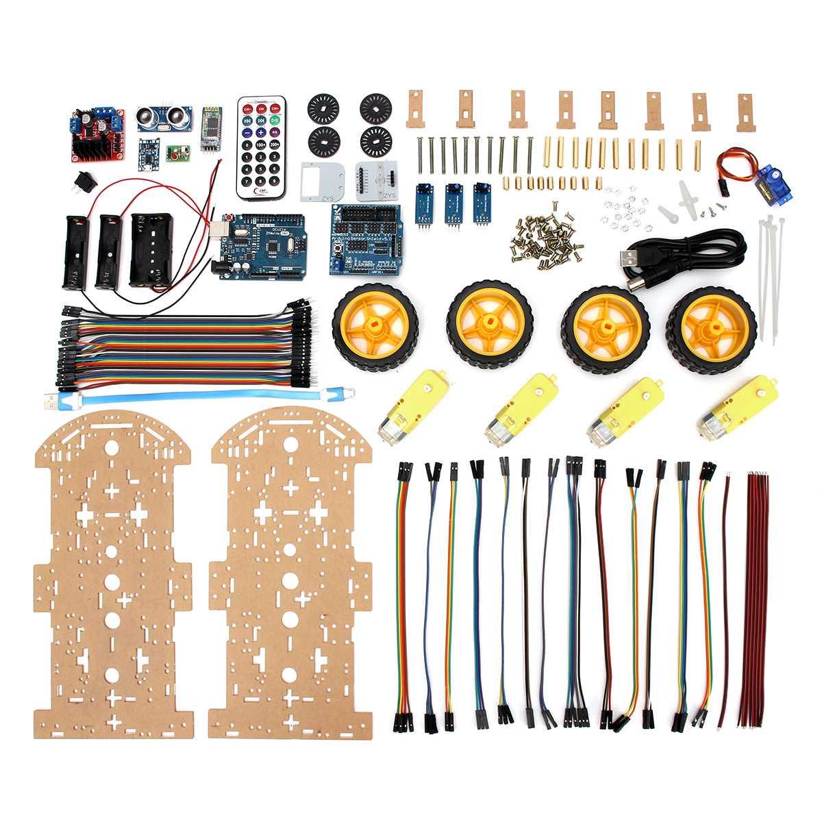 Kits de chasis de coche inteligente Robot 4WD, Motor de seguimiento de evitación con codificador de velocidad para Arduino, Kit de coche inteligente Robot Educativo DIY