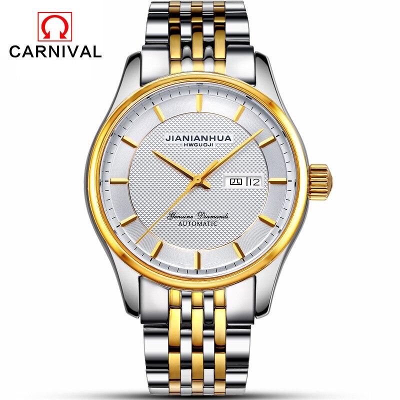 CARNIVAL Brand Luxury Gold Watches Men Fashion Business Dress Mechanical Wristwatch Waterproof Automatic Calendar Reloj Hombre enlarge