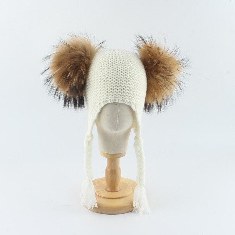 Gorro Bola de piel auténtica de mapache de punto cálido para invierno para niños, gorro con orejeras con pompón doble, gorro para niñas y niños