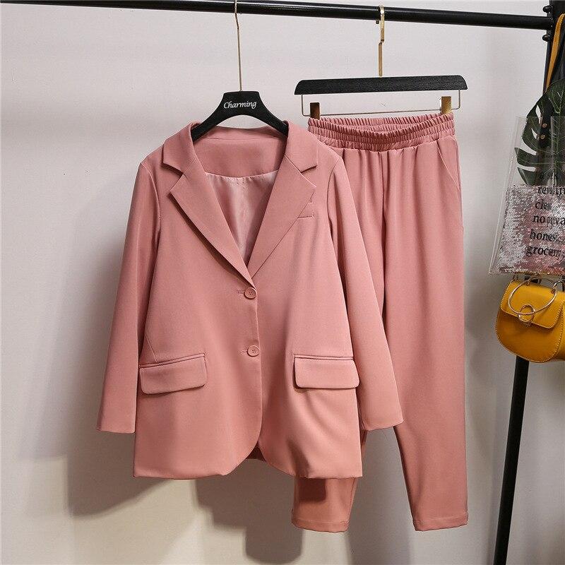 4XL 5XL Plus Size Woman Black Pink Trouser Suit 2 Piece Blazer Set Womens Work Trouser Suits for Women Business Casual Outfits
