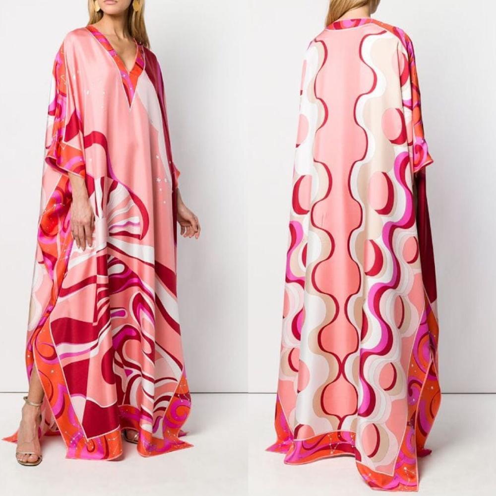 Nuevo corpulenta, extra plus estilo caftán suelto, hermoso vestido largo de punto elástico con cuello en V estampado