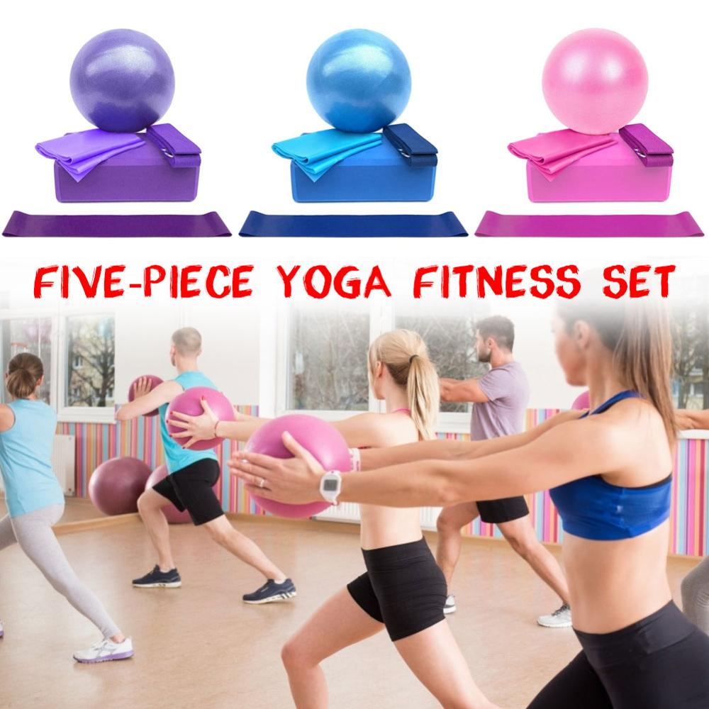 5 uds. Conjunto de bloques de Yoga rutina ejercicios Fitness ladrillo refuerzo Stretch cinturón ayuda gimnasio entrenamiento para Pilates Body Shaping Fitness Equipment