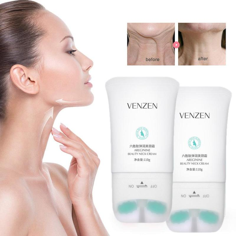 Double Roller Neck Cream Six Peptide Massage Rolling Round Neck Serum Moisturizing Dilute Neck Profile Pulling Compact Skincare