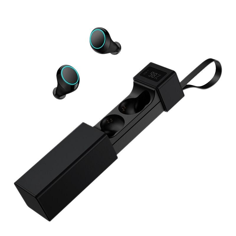 Auriculares Bluetooth 5,0 HiFi IPX7 resistentes al sudor con pantalla, auriculares binaurales inalámbricos para sala de carga