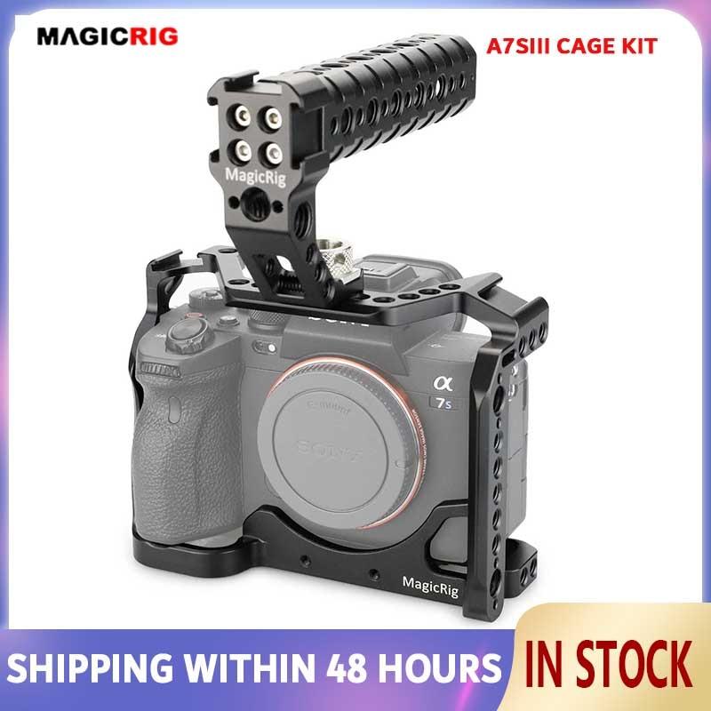 Magicrigdslr هيكل قفصي الشكل للكاميرا مع أري تحديد موقع مقبض علوي و الحذاء البارد جبل لسوني A7SIII /A7S3/ألفا 7SIII كاميرا