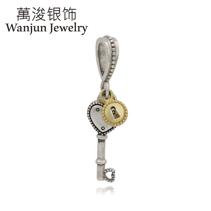 Joyería Wanjun 925, brazalete de plata, día de la independencia, conjunto de circón, casa de ensueño, cerradura con forma de corazón, soporte colgante DIY