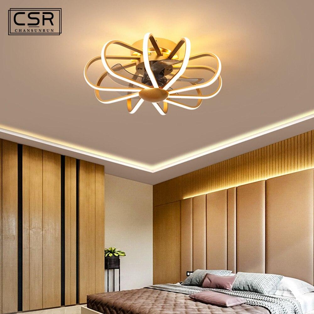 ¡Novedad de 2020! Lámpara de techo nórdico moderna de 55CM con luces, Control remoto, decoración de dormitorio, ventiladores Ceeling, ventilador silencioso