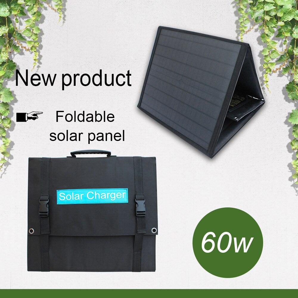 Cargador solar plegable rápido con puertos USB para exteriores QC3.0 18v 60w, Puerto DC, panel solar plegable portátil para teléfono, ordenador portátil, tableta