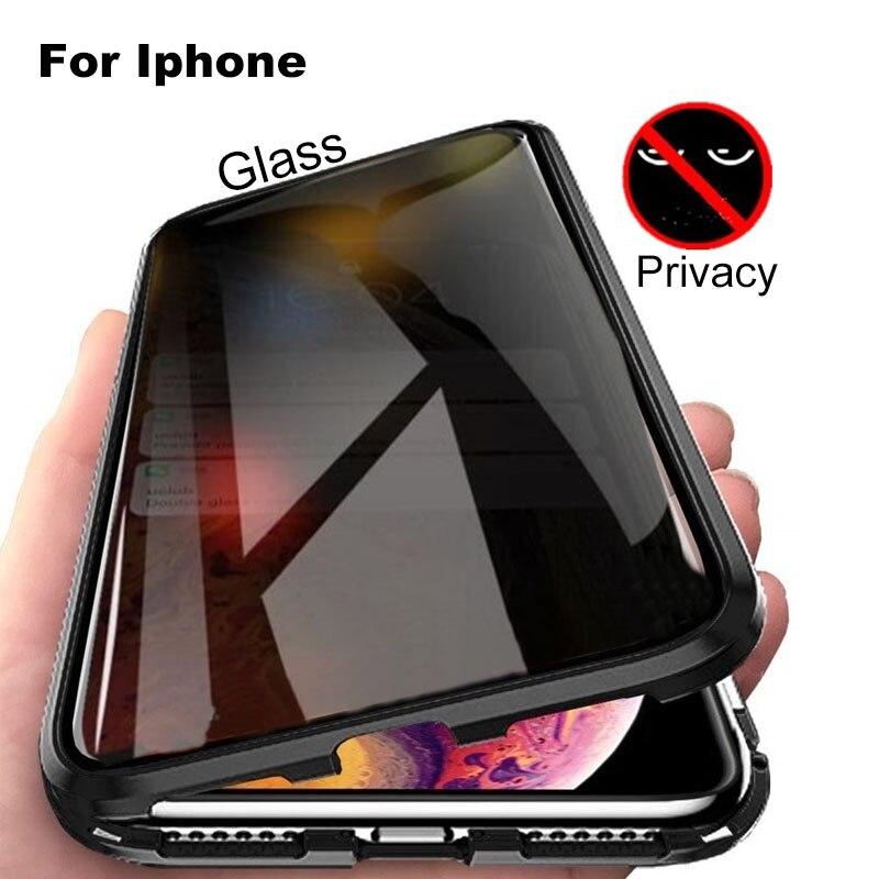 Nueva funda de Metal de privacidad de vidrio templado magnético Anti-peeping para Iphone XR XS MAX X 8 7 6 6 funda protectora con imán S Plus