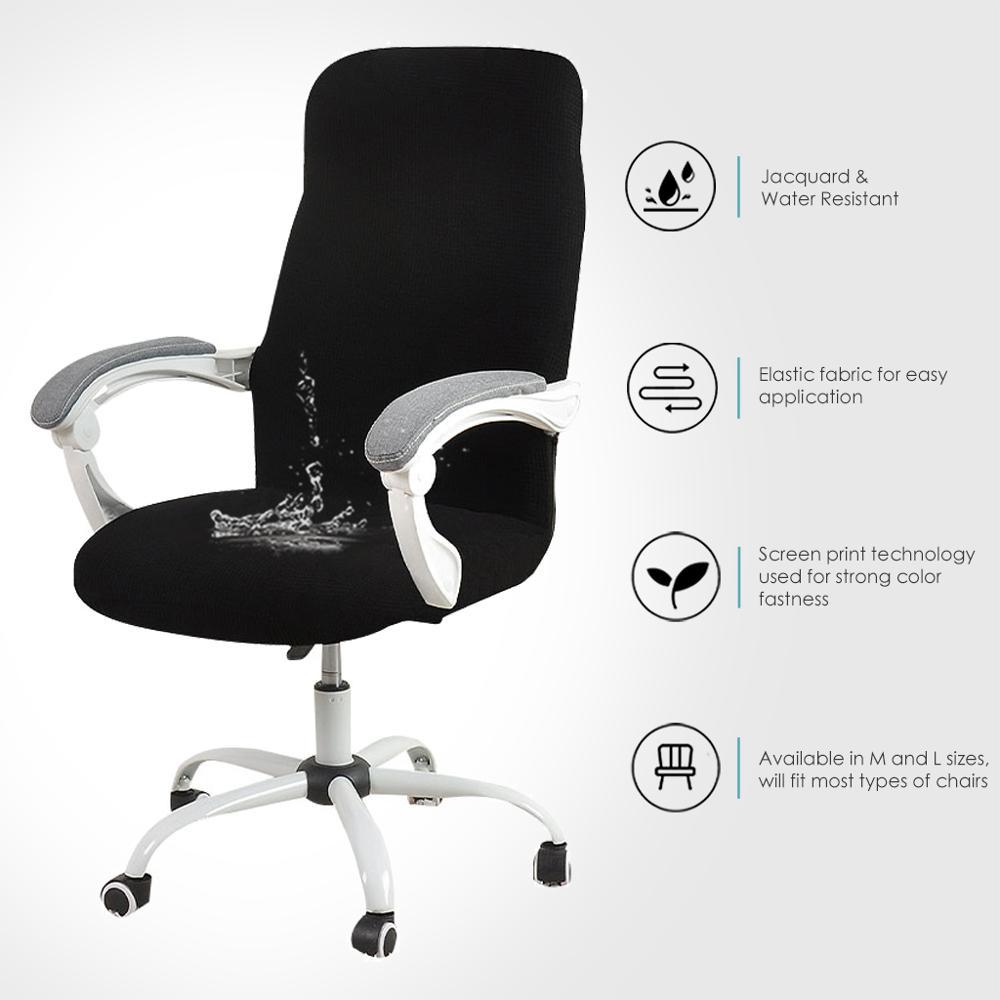 Funda elástica impermeable de estilo Jacquard para silla de ordenador, cubierta resistente...