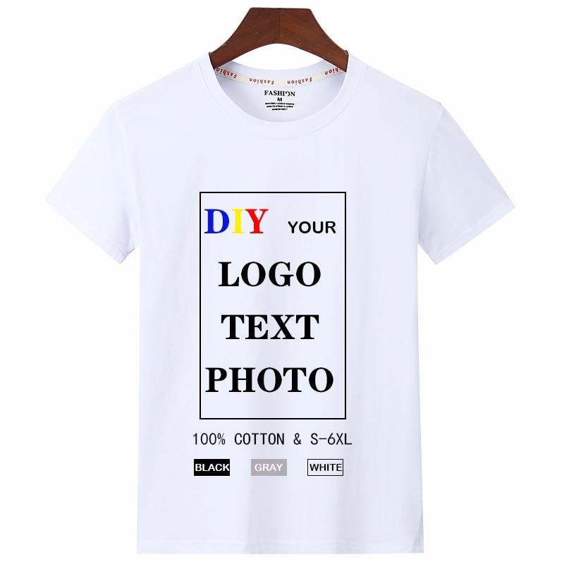 Customized T Shirt 2020 Cotton 100%  for Men make your own Design/Photo/Text/Logo shirt women Top Tees DIY Print tshirt Plus 6XL
