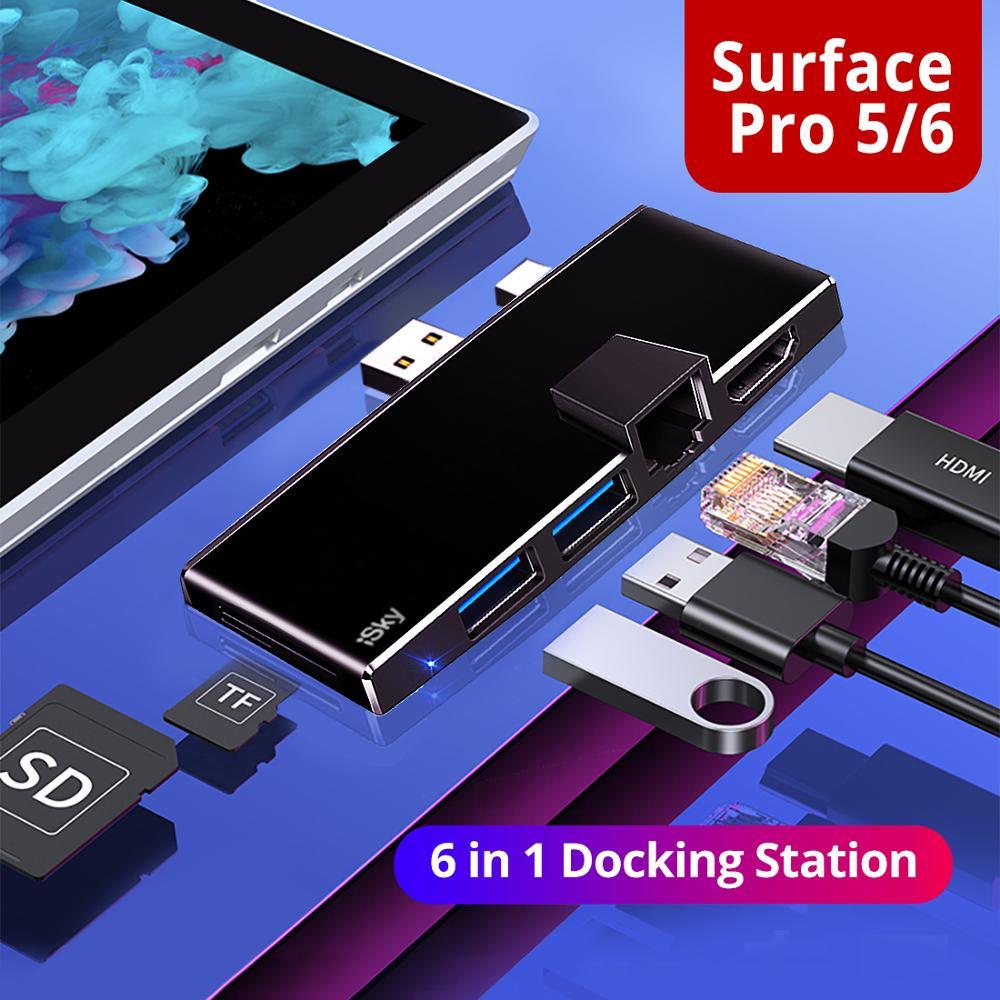 ISky-موصل USB لجهاز Microsoft Surface Pro5 Pro6 ، نسخة طبق الأصل ، HDMI ، LAN ، Ethernet ، SD ، TF ، Surface Pro 34567