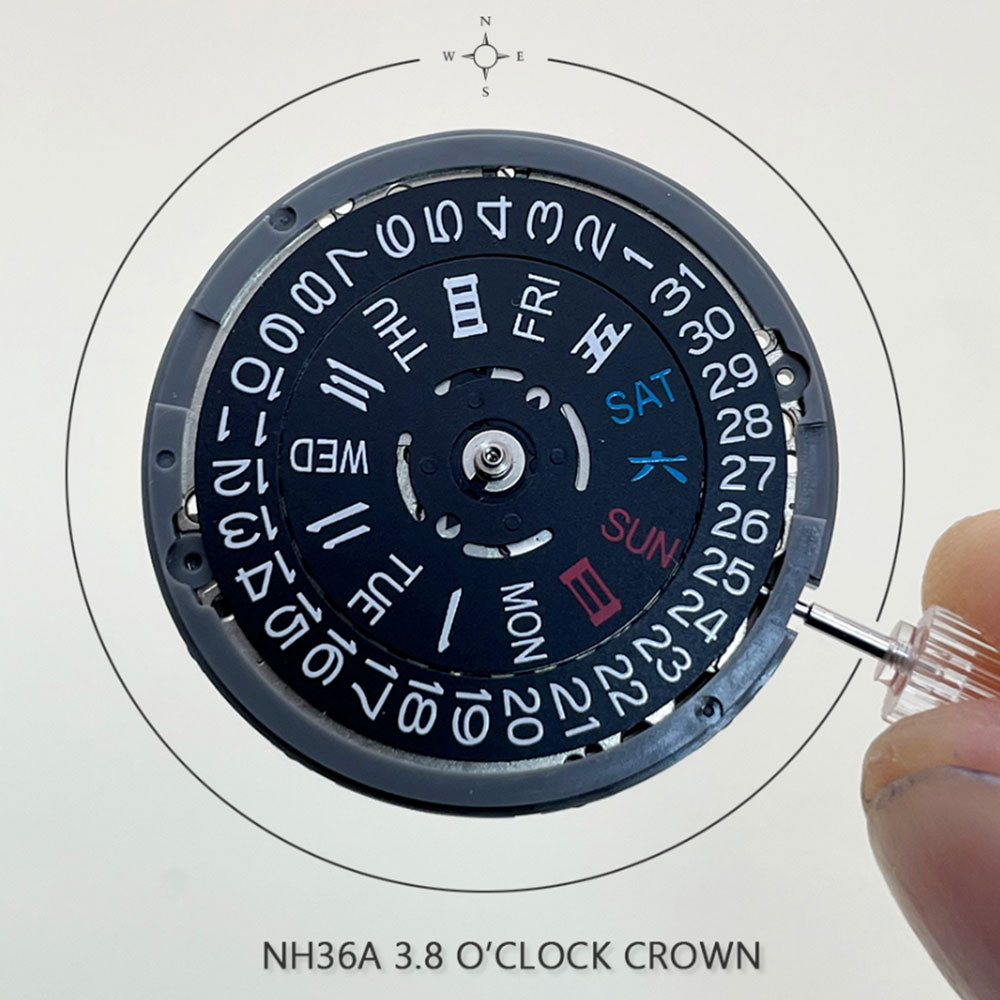 NH36/NH36A Black Datewheel With Blue Luminous Dial 3.8 O'Clock Crown 24 Jewels Top Mechanism Seiko Mechanical Watch Movement enlarge