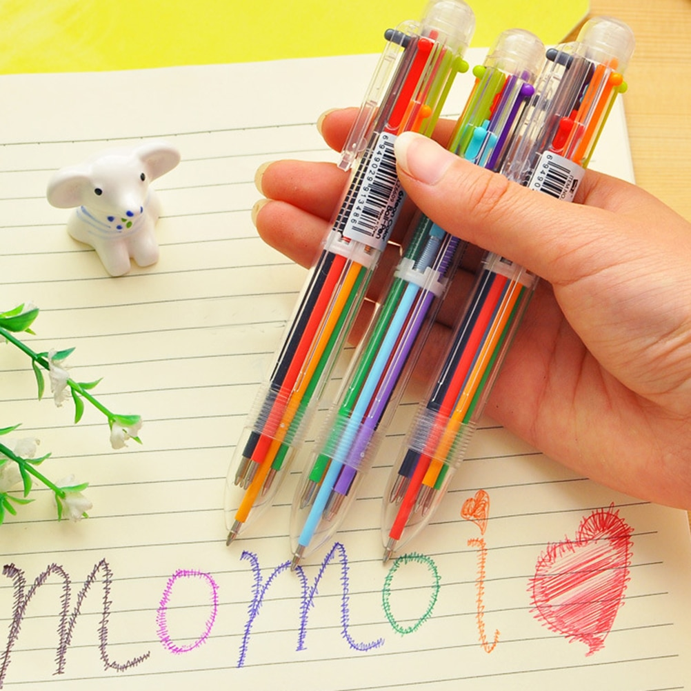 Multicolor Ballpoint Pen Multifunction 6 in1 Colorful Stationery Ball Point Pens Creative Gifts School Office Supplies Students delvtch 0 7mm 4pcs set multicolor pen fine point 4in1 colorful retractable ballpoint pens multifunction ball pen office student