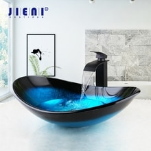 JIENI กระจกสีฟ้ามือวาดน้ำตก Spout อ่างล้างหน้าสีดำแตะห้องน้ำอ่างล้างจานอ่างล้างหน้า Bath ชุดทองเหล...