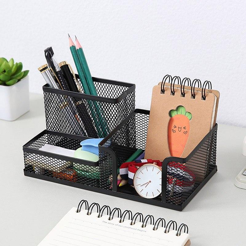 Malha de metal desktop caneta titular caixa de armazenamento escritório lápis mesa malha organizador casa papelaria armazenamento caso k888